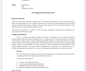 Project Cost Proposal Template