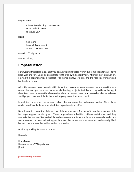 Science research proposal cover letter