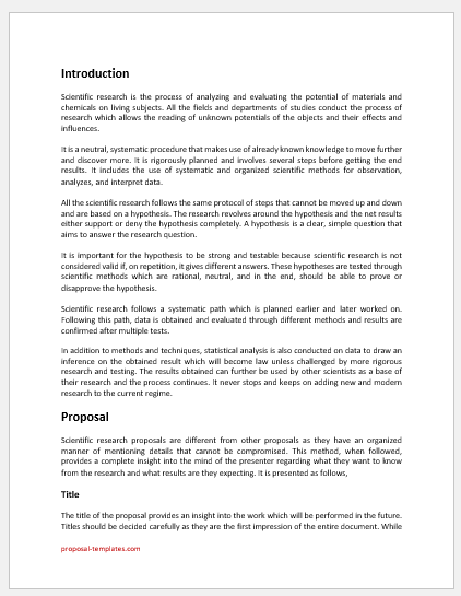 Science research proposal template