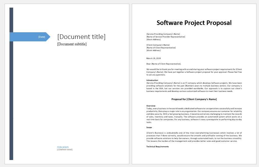 Software project proposal template