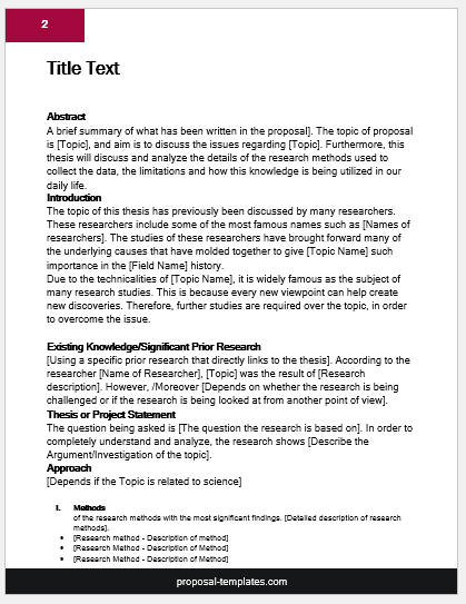Thesis proposal template cover
