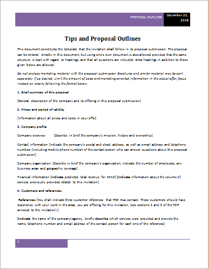 tips and proposal outlines
