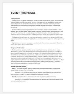 Event organization template