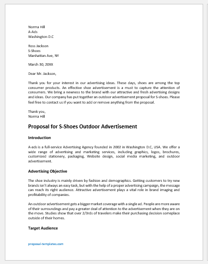 Outdoor advertisement proposal
