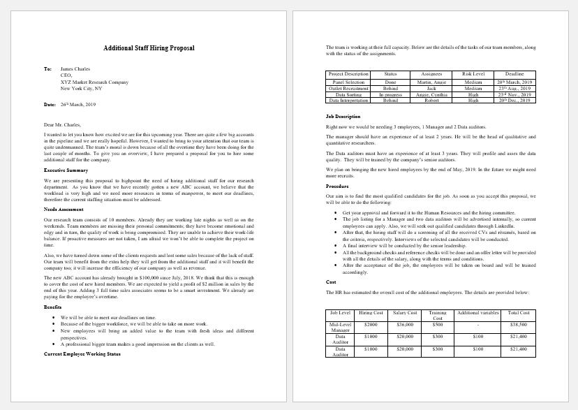 Additional staff hiring proposal template