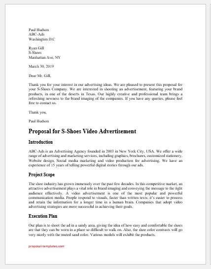 Video advertisement proposal