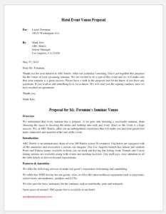 Hotel event venue proposal