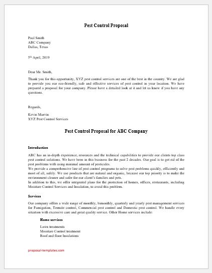 Pest control proposal