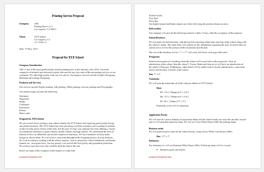 Printing Service Proposal Template