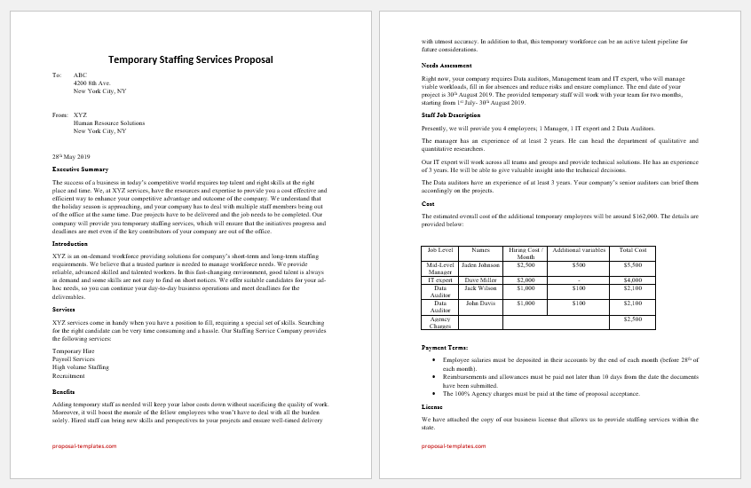 Temporary Staffing Services Proposal Template