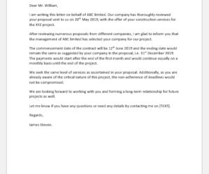 Proposal Acceptance Letter