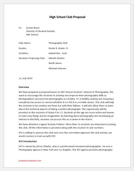 High School Club Proposal Template