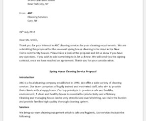 Seasonal House Cleaning Proposal