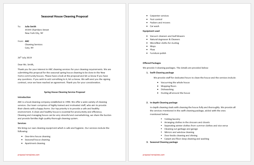 Seasonal House Cleaning Proposal Template