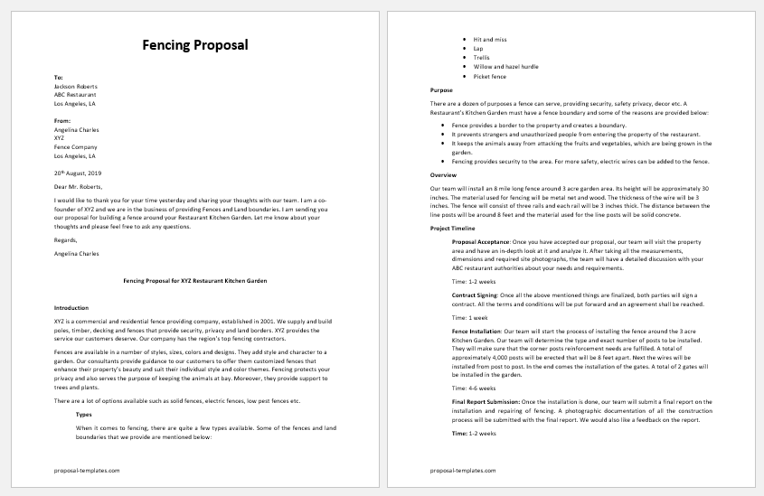 Fencing Proposal Template