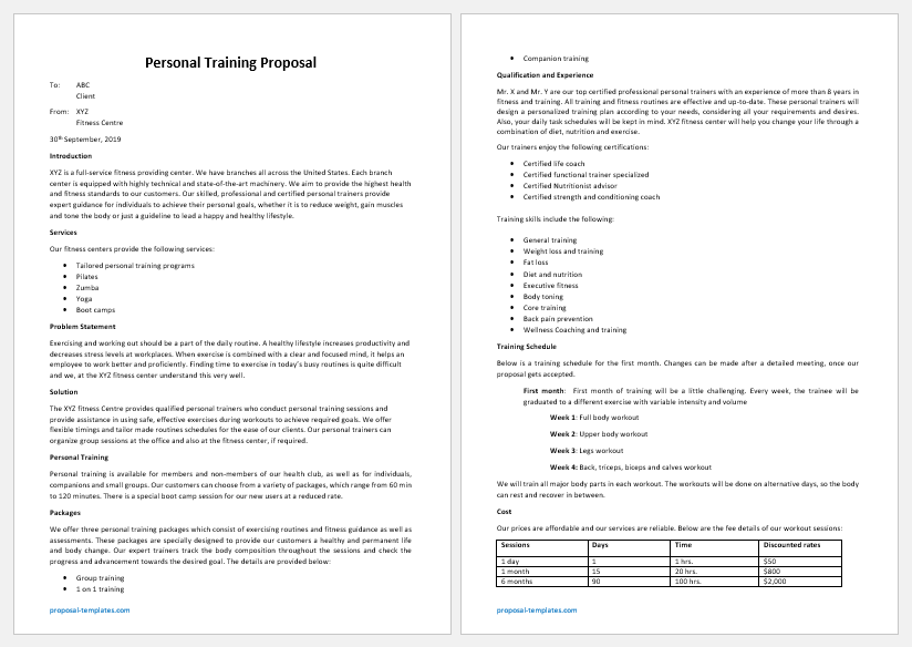 Personal Training Proposal Template