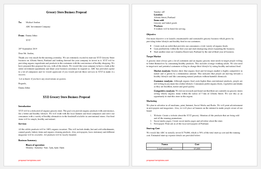 Grocery Store Business Proposal Template