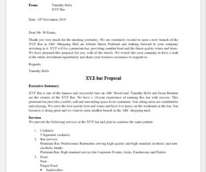 Bar Proposal Template