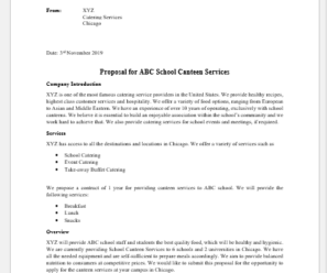Canteen Services Proposal