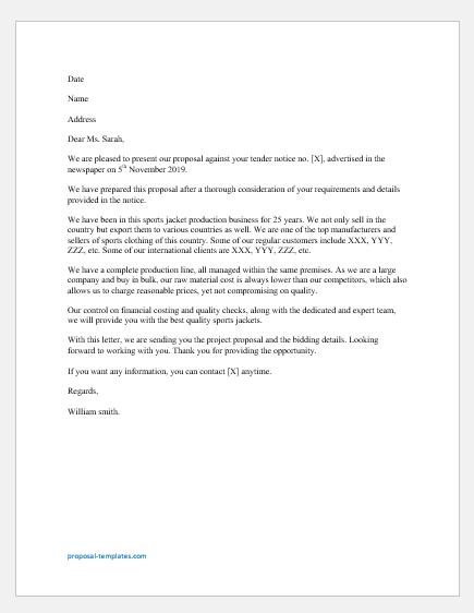 Tender proposal letter