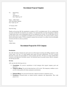 Recruitment Proposal Template 2020