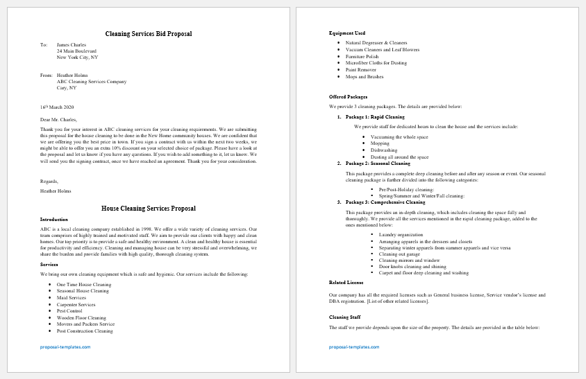 Cleaning service bid Proposal template