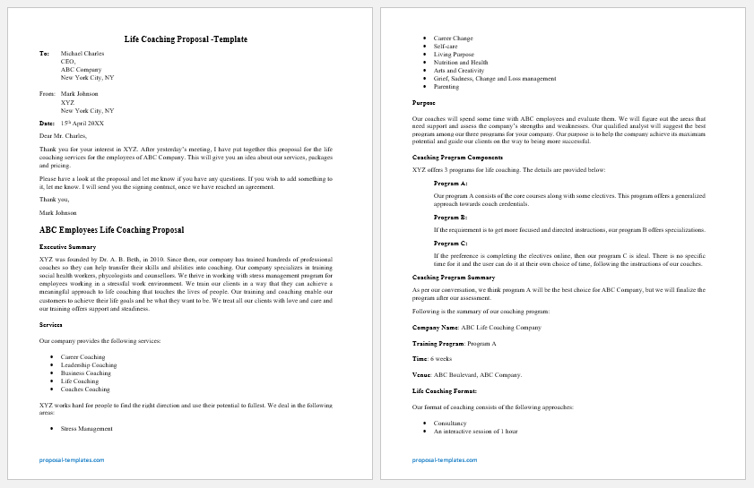 Life Coaching Proposal Template