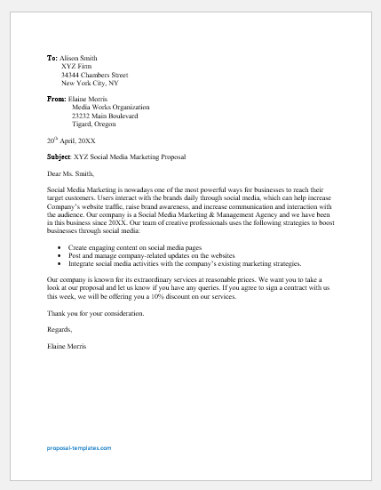 Social Media Marketing Proposal Letter