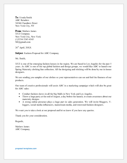 Fashion proposal letter template