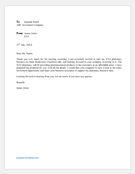 Pharmacy Business Proposal Letter