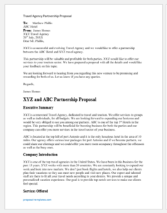 Travel Agency Partnership Proposal Template