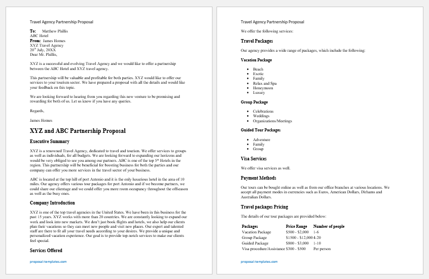 Travel Agency Partnership Proposal Template for Word