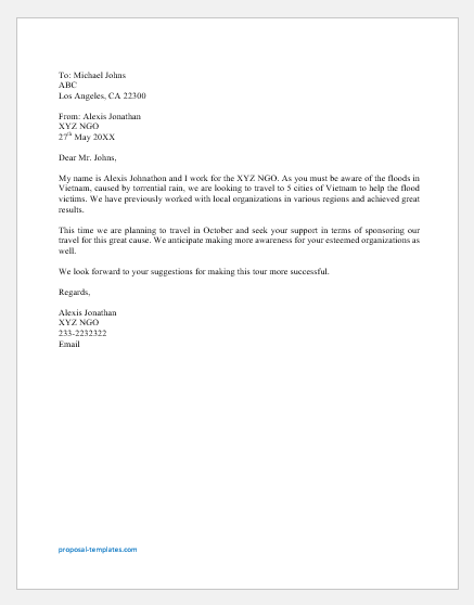 Travel Sponsorship Proposal Letter