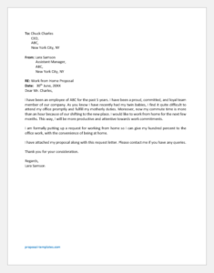 Work from Home Proposal Letter to Boss