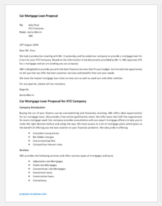 Car mortgage loan proposal template