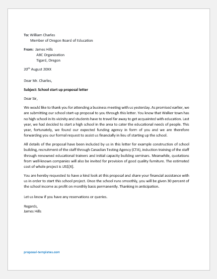 New School start-up proposal letter
