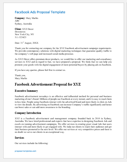 Facebook Ads Proposal Template Cover