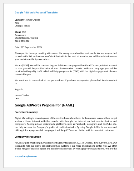 Google AdWords Proposal Template