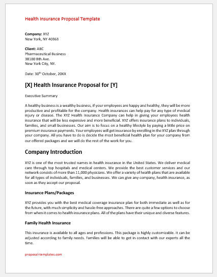 Health Insurance Proposal Template
