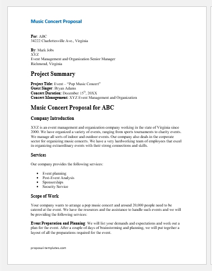 Music concert proposal