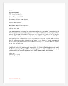 Proposal Confirmation Letter