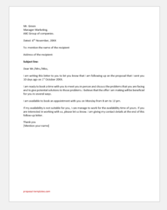 Proposal Follow Up Letter
