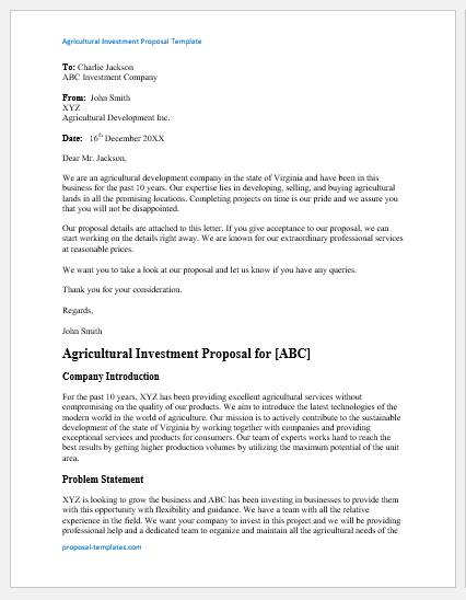 Agricultural Investment Proposal Template