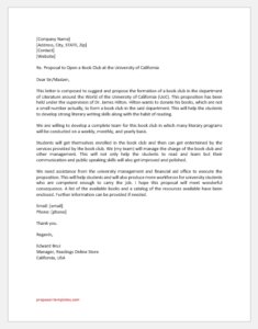 Book club proposal letter
