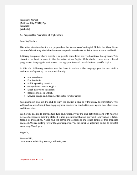 English club proposal letter