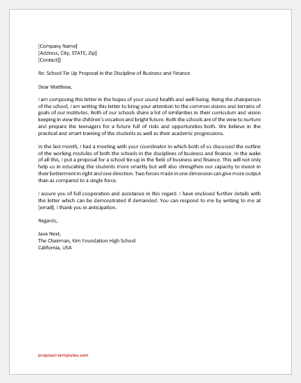 Proposal Letter for School Tie up