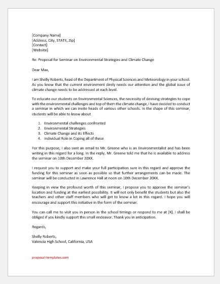 Proposal letter to school principal for seminar