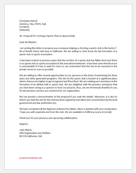 Sports Club Proposal Letter