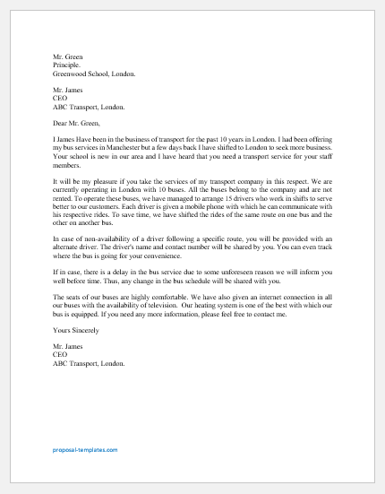 Staff Bus Proposal Letter Template