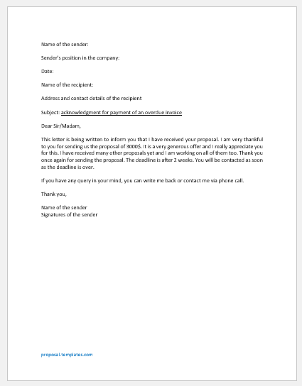 Acknowledgment Letter for Proposal Submission